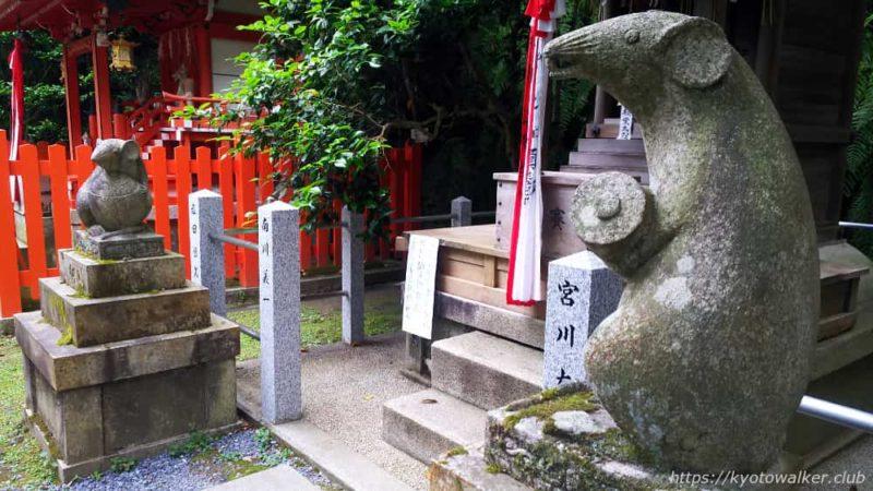 大豊神社の大国社前の狛ねずみ