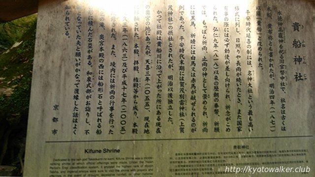 貴船神社京都市設置の駒札