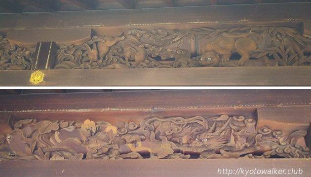 瀧尾神社社殿の欄間の彫刻(十二支の一部)