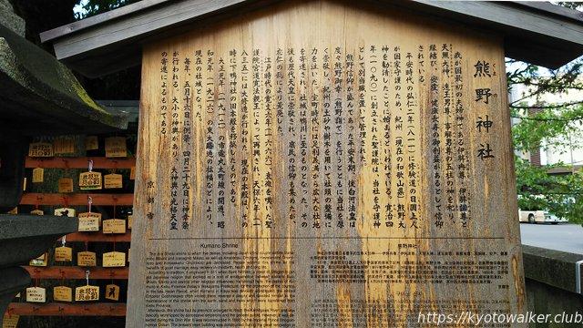 熊野神社京都市設置の駒札