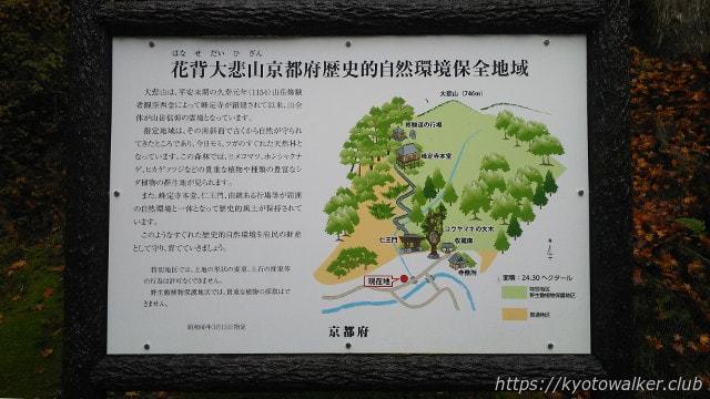 花背大悲山歴史的自然環境保全地区看板
