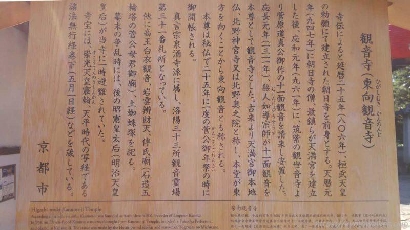 東向観音寺 駒札 20200323