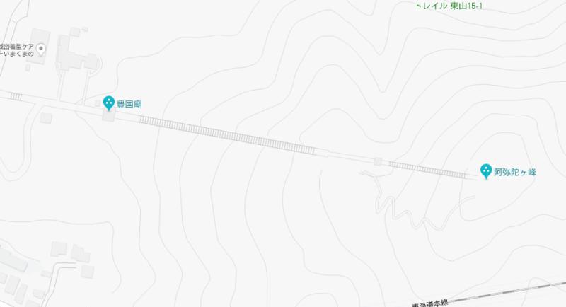豊国廟階段を地図で見ると…。2018年8月