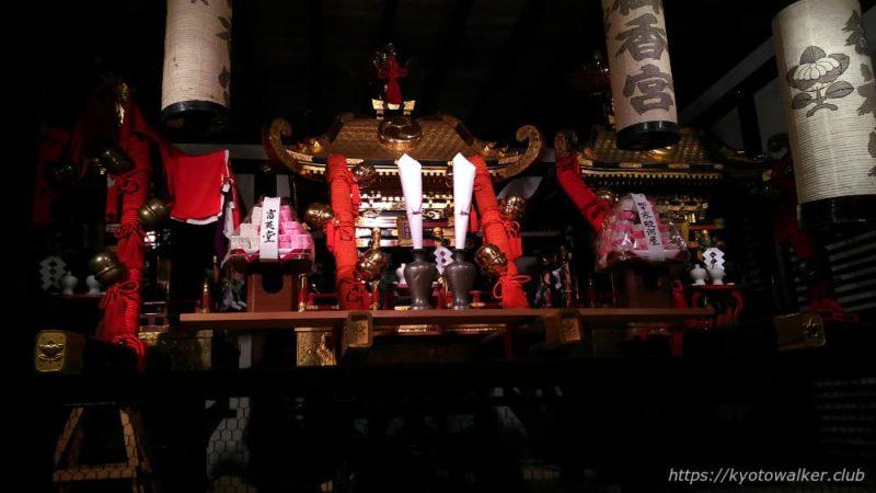 御香宮神社20181006割拝殿の中のお神輿