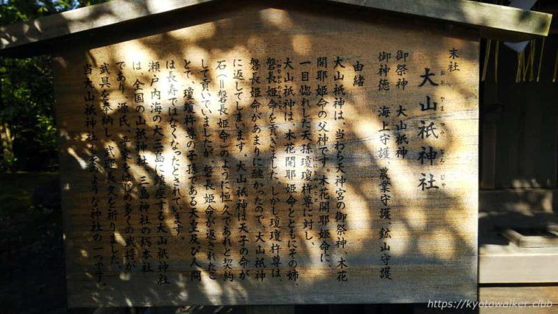 敷地神社(わら天神) 社殿横 大山祇神社前立札 20190114