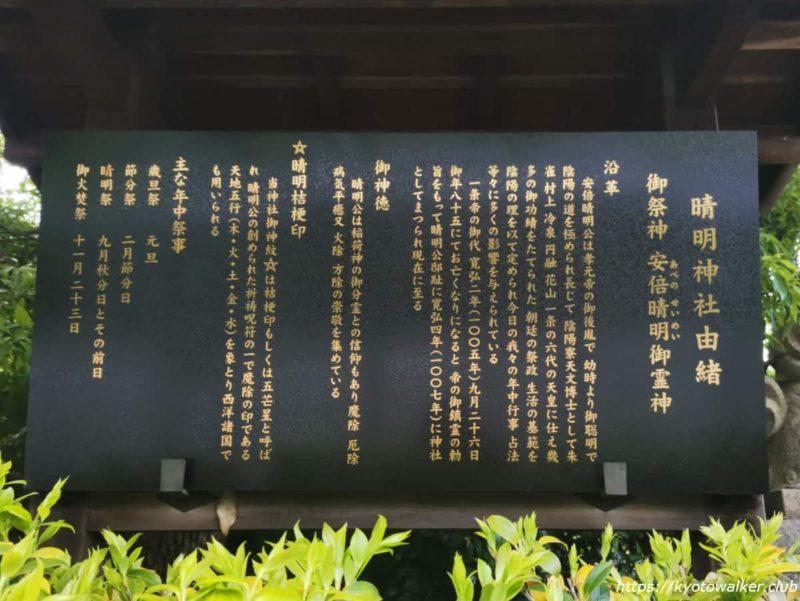 晴明神社 由緒 20210418